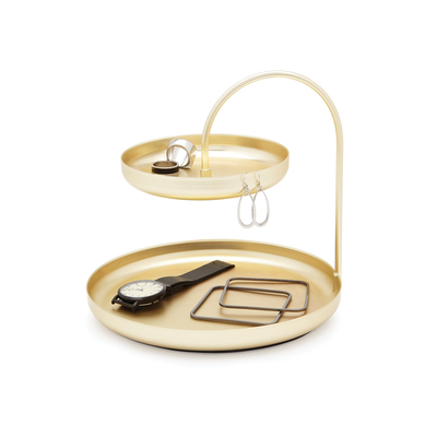 Poise 2-Tiered Tray - Brass - Image 2