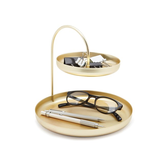 Poise 2-Tiered Tray - Brass - 1