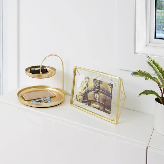 Poise 2-Tiered Tray - Brass - 5