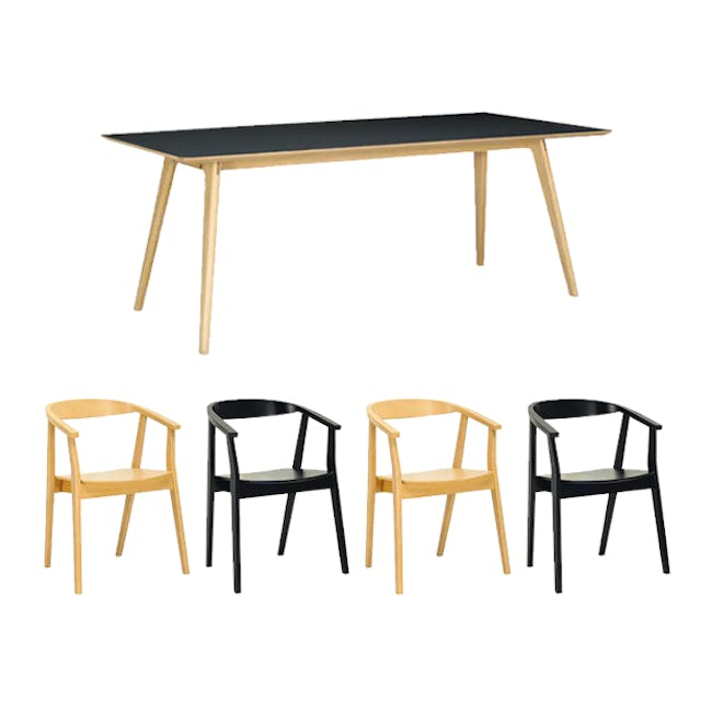 Tyrus Dining Table 2m with 4 Greta Chairs in Black and Natural - 0