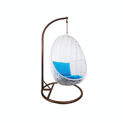 White Cocoon Swing Chair with Blue Cushion - Image 1