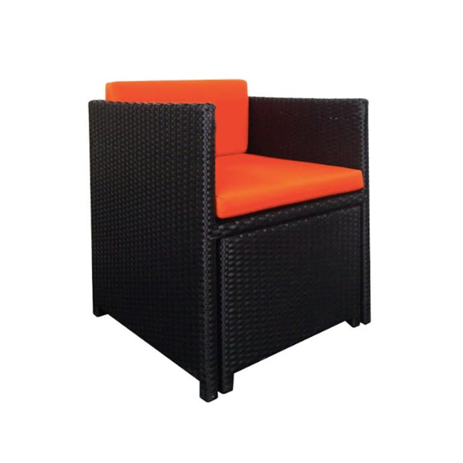 Splendor Armchair Set - Orange Cushion - 3
