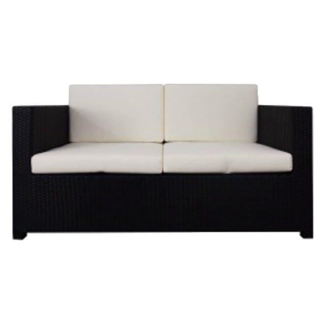 Black Fiesta Outdoor Sofa Set II - White Cushions - 2