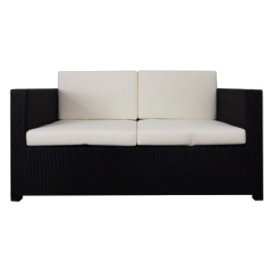 Arena Living - Black Fiesta Outdoor Sofa Set II with White Cushions