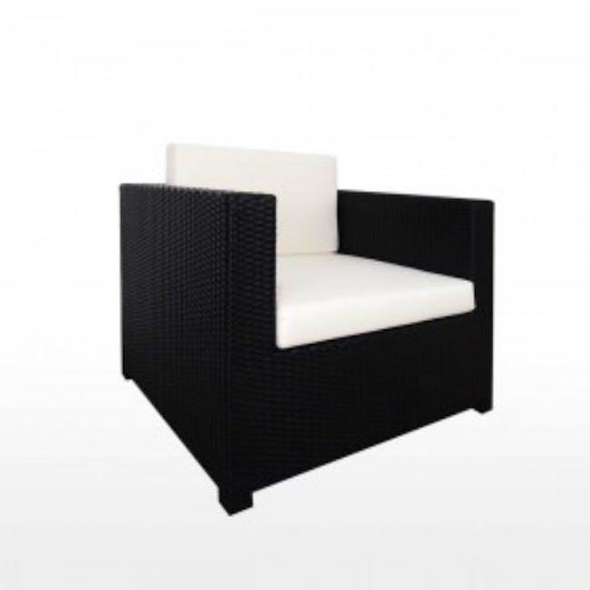 Black Fiesta Outdoor Sofa Set II - White Cushions - 3
