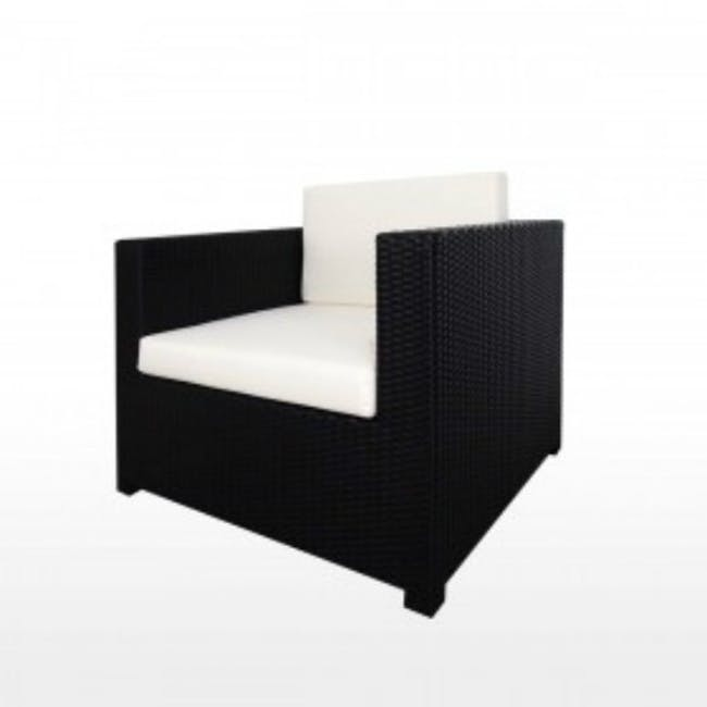 Black Fiesta Outdoor Sofa Set II - White Cushions - 4