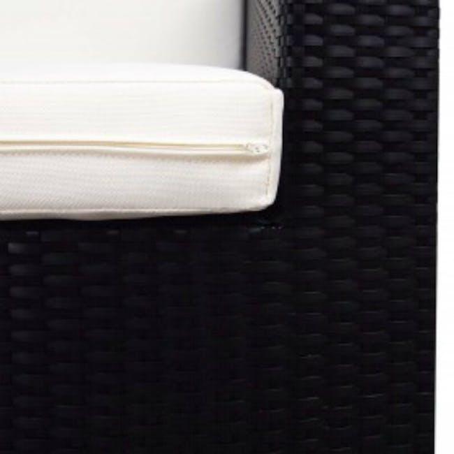 Black Fiesta Outdoor Sofa Set II - White Cushions - 5