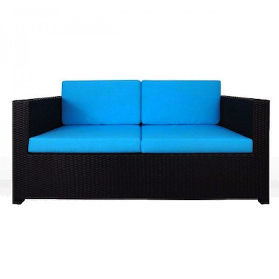 Black Fiesta Sofa Set II with Blue Cushions - Image 2