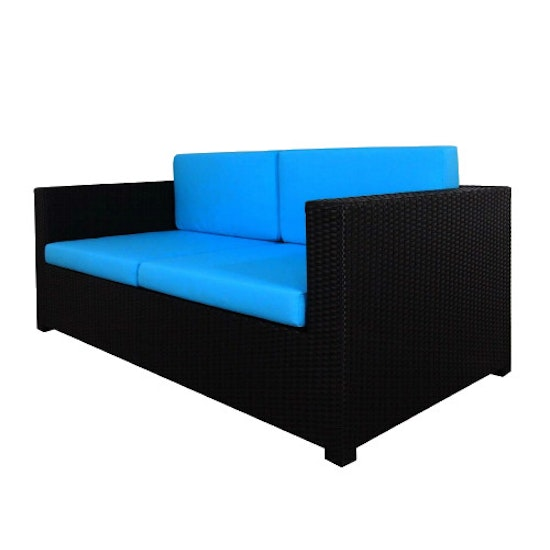 Arena Living - Black Fiesta Outdoor Sofa Set II with Blue Cushions