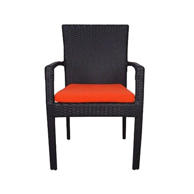 Palm Outdoor Dining Set - Orange Cushions - 1