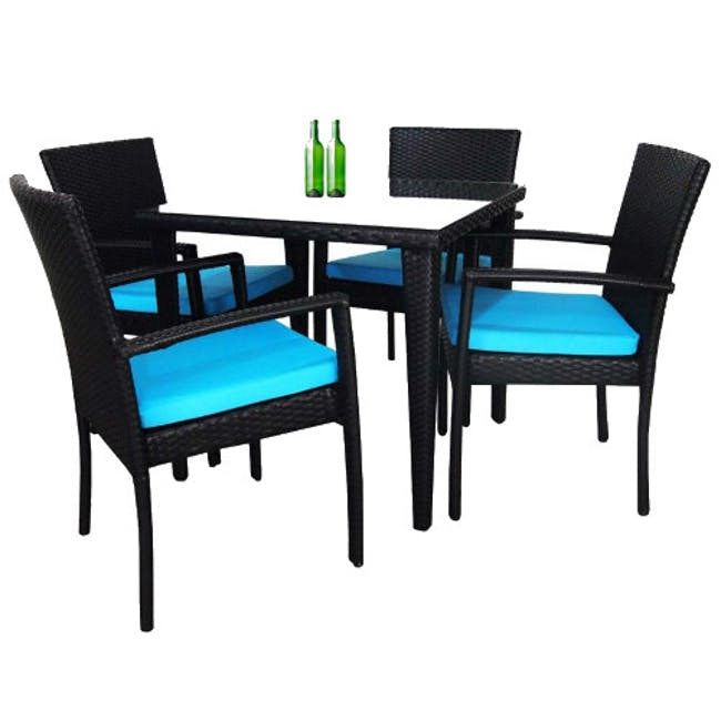 Palm Outdoor Dining Set - Blue Cushions - 10