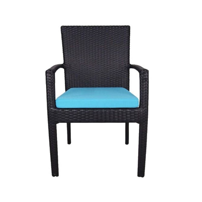 Palm Outdoor Dining Set - Blue Cushions - 1