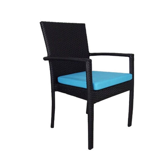 Palm Outdoor Dining Set - Blue Cushions - 2