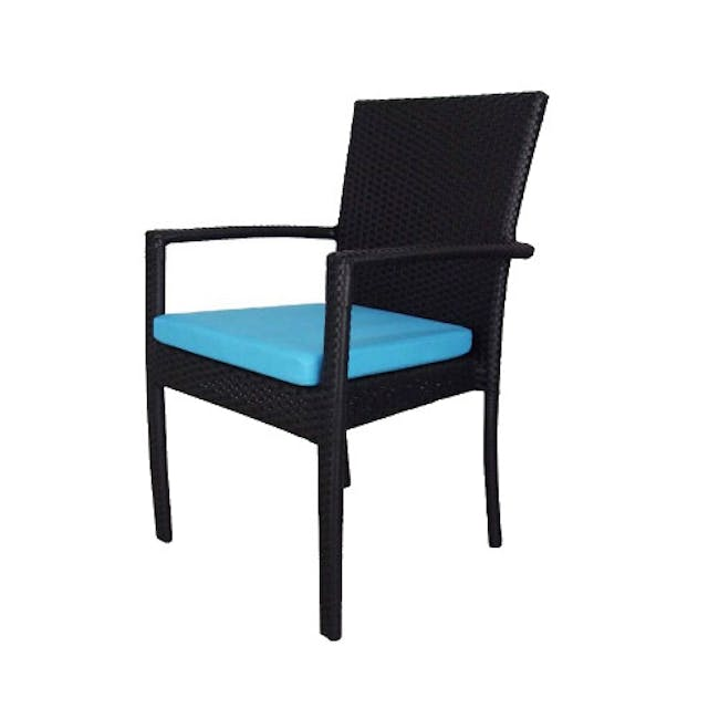 Palm Outdoor Dining Set - Blue Cushions - 3