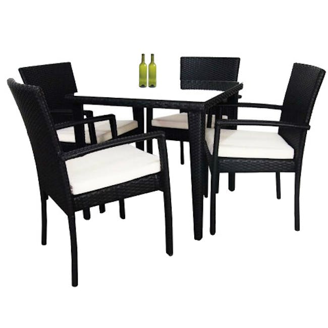 Palm Outdoor Dining Set - White Cushions - 10