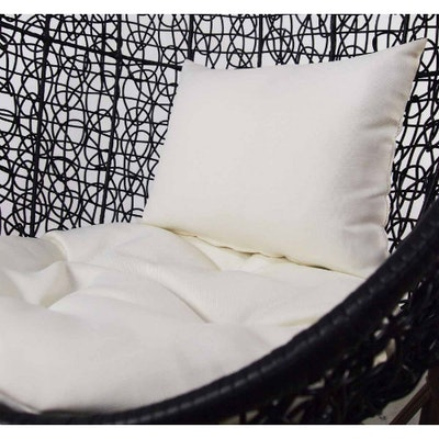 Black Cocoon Swing Chair with White Cushion - Image 2