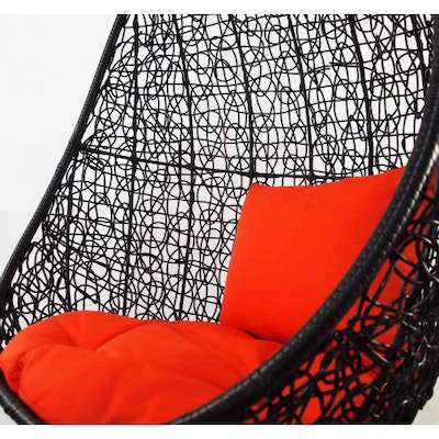 Black Cocoon Swing Chair with Orange Cushion - Image 2