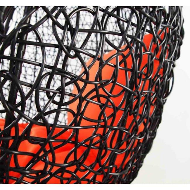 Black Cocoon Swing Chair with Orange Cushion - 1