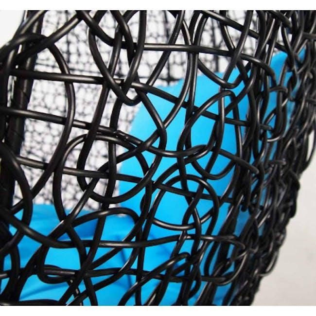 Black Cocoon Swing Chair - Blue Cushion - 1