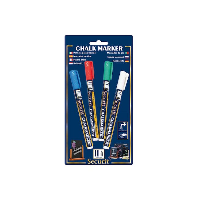 Securit Liquid Chalk Markers With 1-2Mm Tip - Bl/Rd/Gr/Wh (Set of 4) - 0