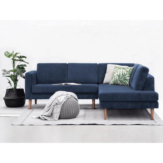 Danyl L-Shaped Corner Sofa - Shadow Blue