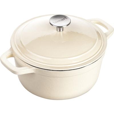 Lamart Round Pot With Lid 20 cm - Cream - Image 1