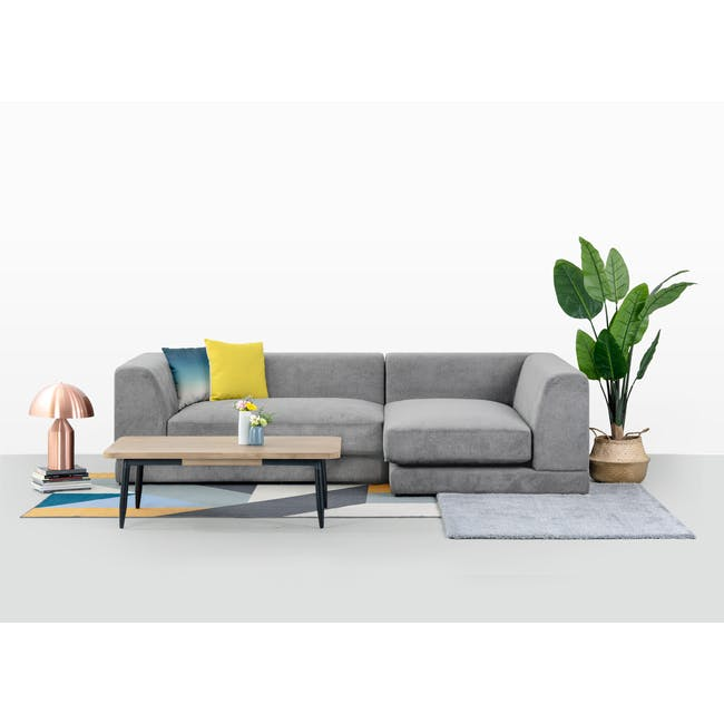 Abby Chaise Lounge Sofa - Stone - 2