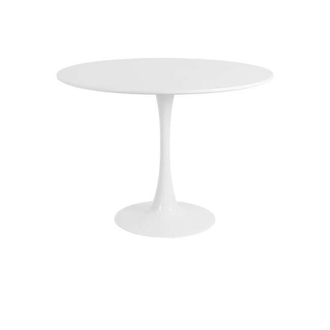 Carmen Round Dining Table 1m with 4 Harold Dining Chairs in White - 1