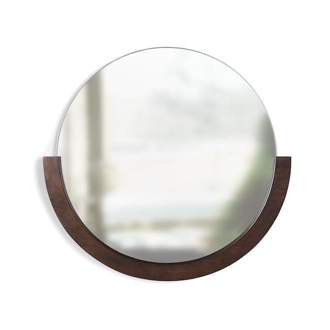 Mira Round Mirror 82 cm - Walnut - 0