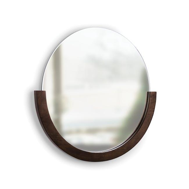Mira Round Mirror 82 cm - Walnut - 1