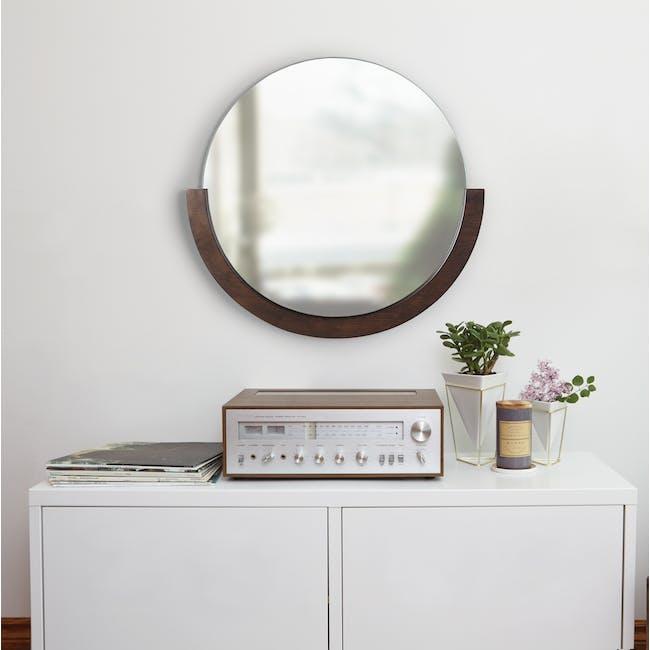 Mira Round Mirror 82 cm - Walnut - 5