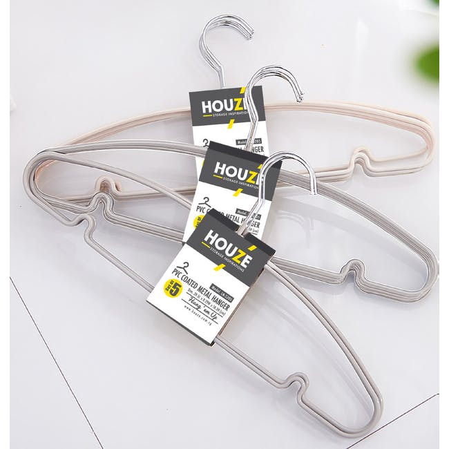 HOUZE PVC Coated Metal Hanger (Set of 5) - Grey - 3
