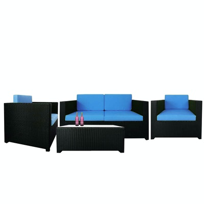Black Fiesta Sofa Set II with Blue Cushions - Image 1