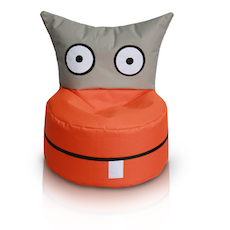 Happy Owl Bean Bag - Orange, Grey