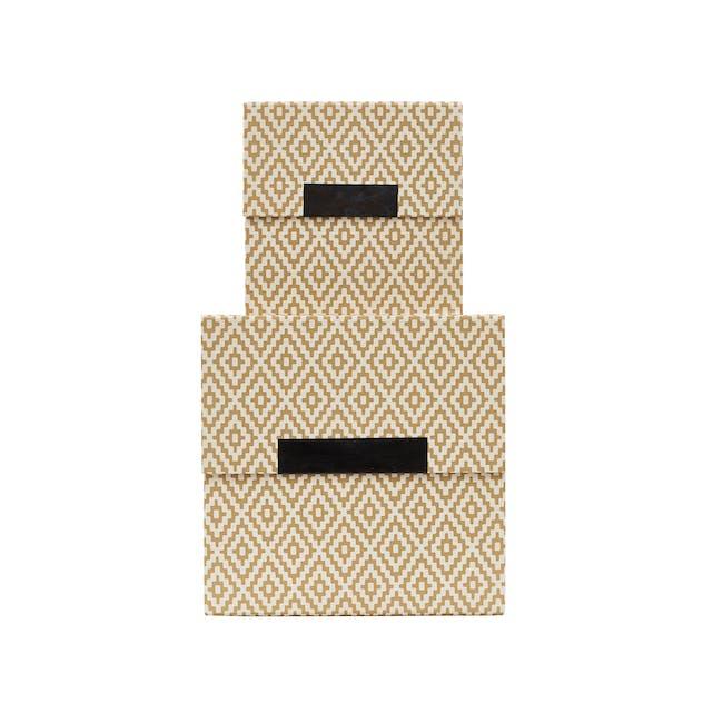 Rhomb Square Storage Boxes - Beige (Set of 2) - 0
