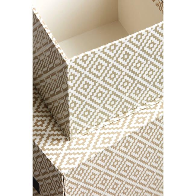 Rhomb Square Storage Boxes - Beige (Set of 2) - 1