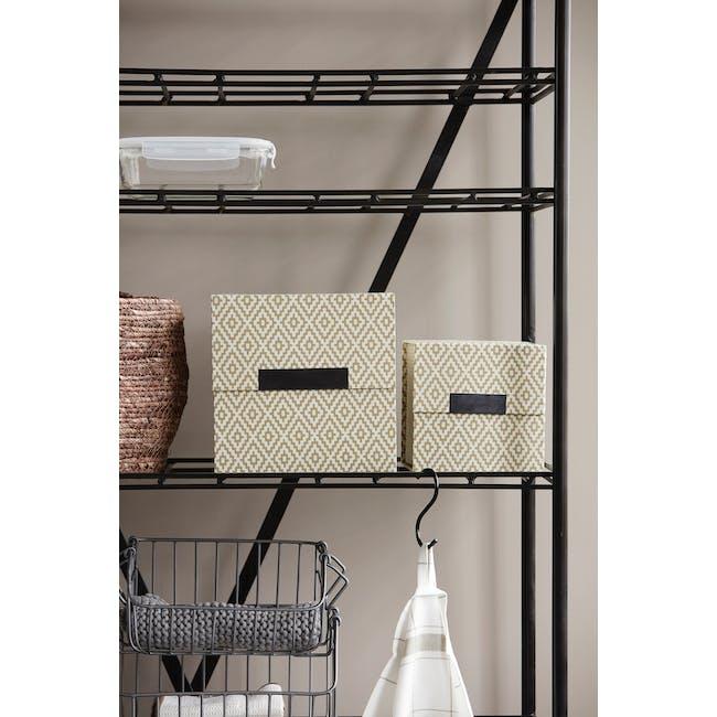 Rhomb Square Storage Boxes - Beige (Set of 2) - 2