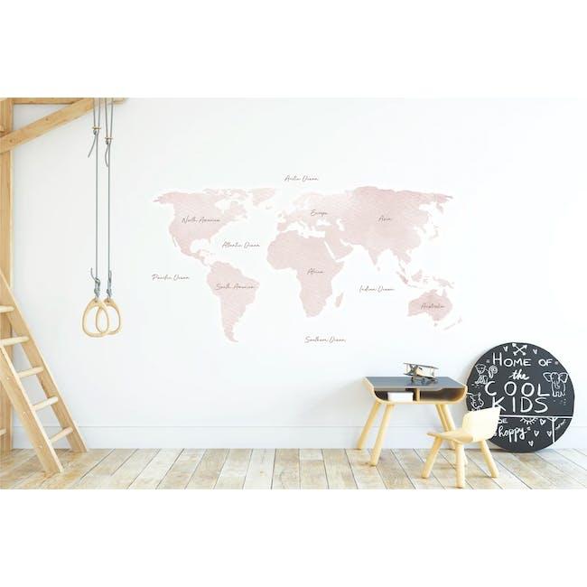 Urban Li'l Watercolour World Map Fabric Decal (180cm) - Blush - 1