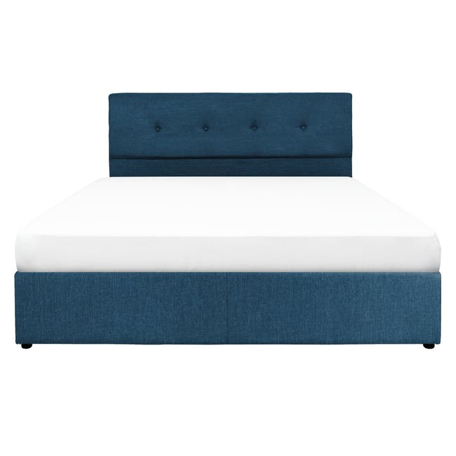 ESSENTIALS Queen Headboard Box Bed - Denim (Fabric) - 0
