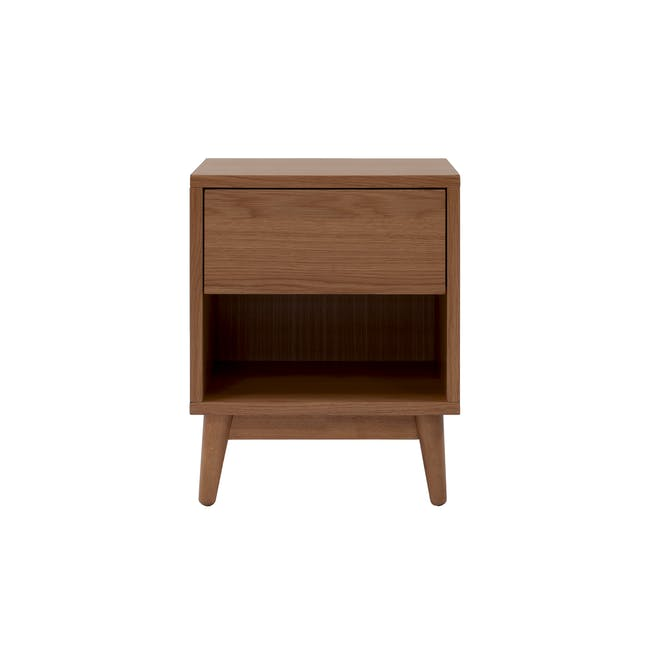 Audrey Queen Storage Bed in Seal Grey with 2 Kyoto Top Drawer Bedside Tables in Walnut - 9