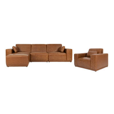 Milan 3 Seater Sofa with Ottoman and Milan Lounge Chair - Cowhide - Image 1