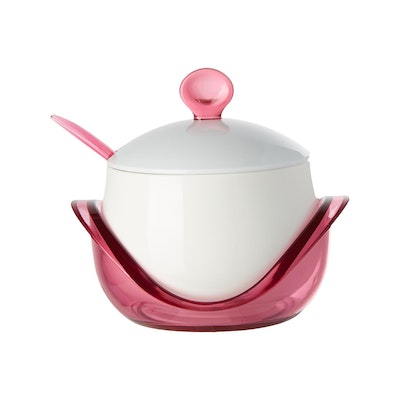Porcelain Condiment Pot With Spoon - Pink