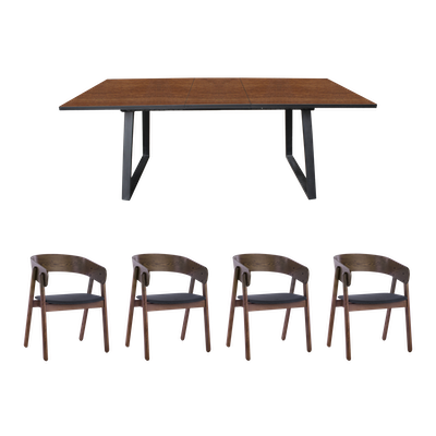 Orlando Extendable Dining Table 1.6m with 4 Venice Dining Chairs - Walnut - Image 1