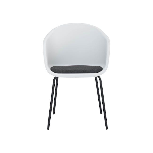 Rayner Dining Armchair - Matt Black, White - 3