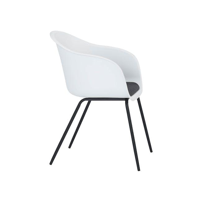 Rayner Dining Armchair - Matt Black, White - 4