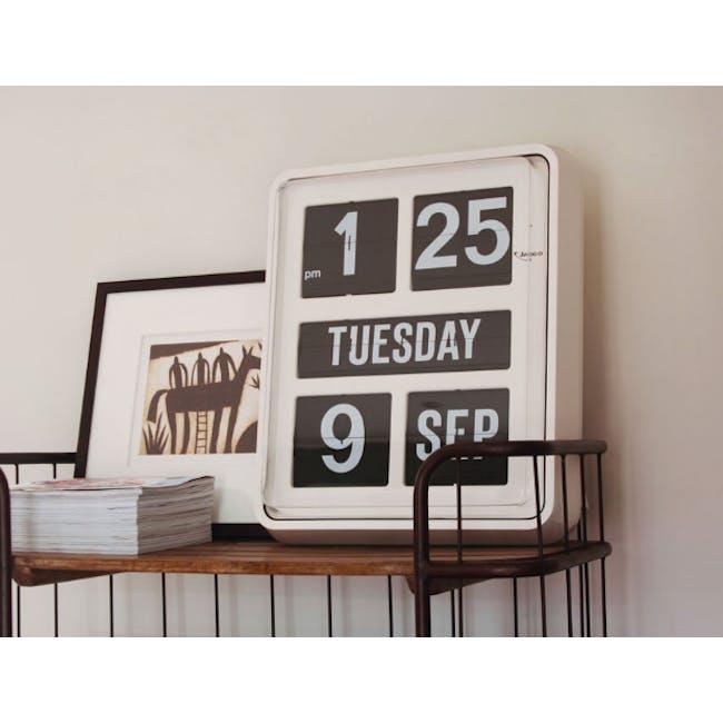 TWEMCO Big Calendar Flip Wall Clock - White Case Black Dial - 3