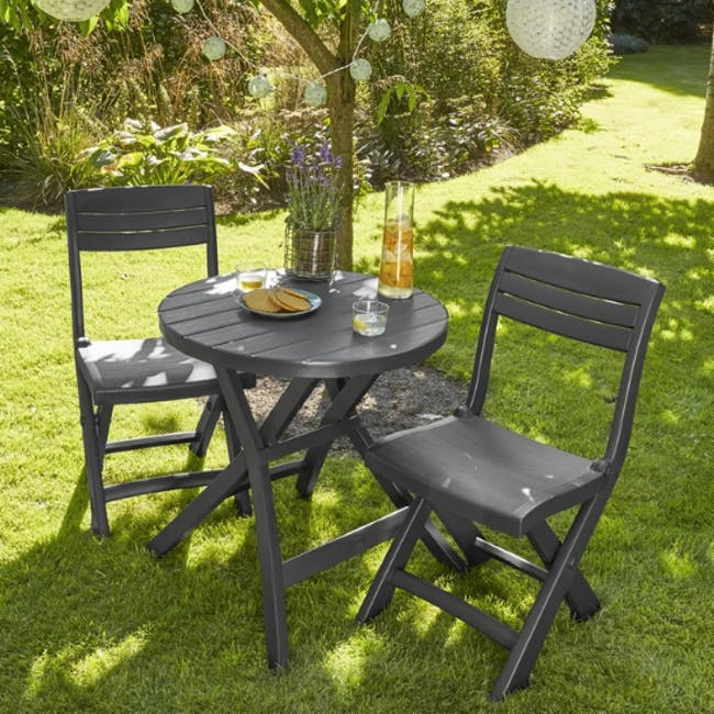 Oregon Folding Table - Graphite with Cappuccino Legs - 1