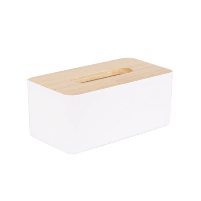 Wooden Tissue Box - White - 0