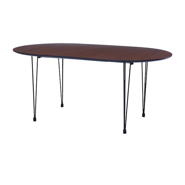 Rikku Extendable Oval Dining Table 1.7m - Walnut, Black - 0