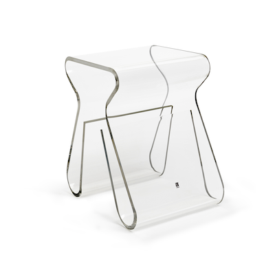 Magino Stool with Magazine Rack - Clear - Image 1